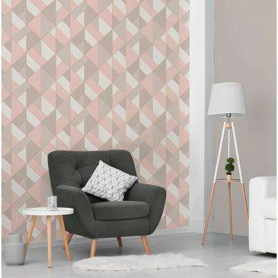 56.4 sq. ft. Delano Rose Structured Geo Wallpaper