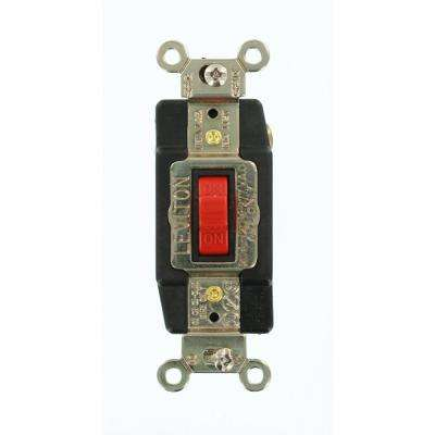 20 Amp Industrial Grade Heavy Duty Single-Pole Double-Throw Center-Off Momentary Contact Toggle Switch, Red