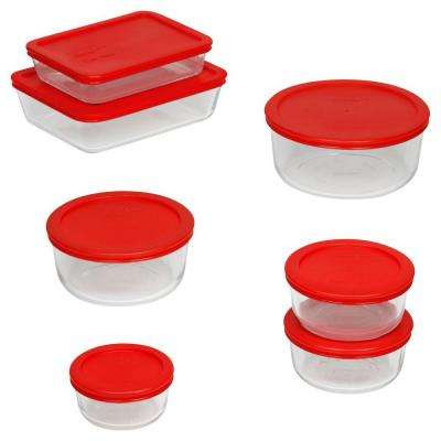 14-Piece Glass Mixing Bowl and Bakeware Set with Lids in Red