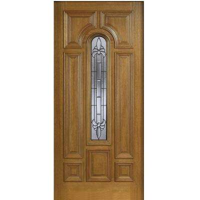 36 in. x 80 in. Mahogany Type Arch Glass Prefinished Walnut Beveled Patina Solid Wood Front Door Slab