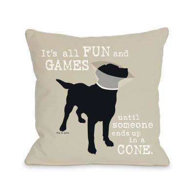 It's All Fun and Games 16 in. x 16 in. Decorative Pillow