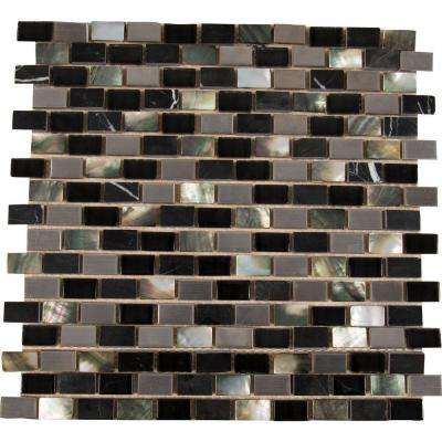 Midnight Pearl 12 in. x 12 in. x 8 mm Glass Metal Stone Mesh-Mounted Mosaic Wall Tile