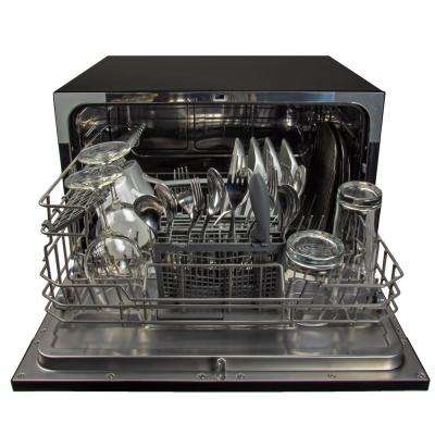 Portable, Countertop Dishwasher in Black with 6 Place Settings Capacity