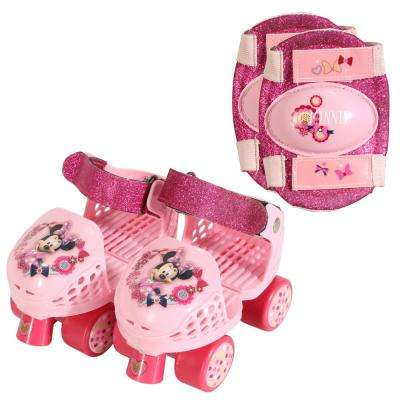 Disney Minnie Mouse Junior Size 6-12 Roller Skates with Knee Pads