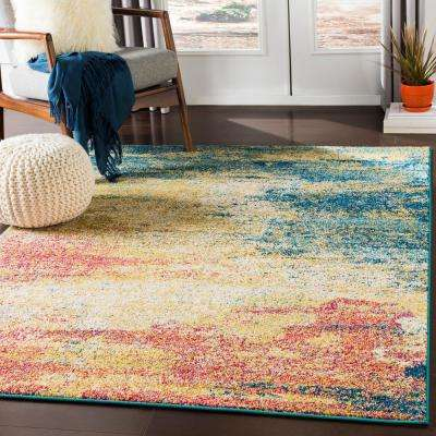 Lisbon Yellow/Teal 7 ft. 10 in. x 10 ft. 3 in. Abstract Area Rug