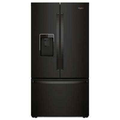 36 in. W 24 cu. ft. French Door Refrigerator in Black, Counter Depth