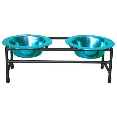 1 Cup Wrought Iron Modern Diner Puppy Stand with Extra Wide Rimmed Bowls in Teal
