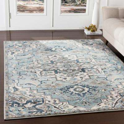 Cairo Teal/Ivory 7 ft. 10 in. x 9 ft. 10 in. Oriental Area Rug