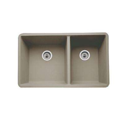 Precis Undermount Composite 33 in. Double Basin Kitchen Sink in Truffle