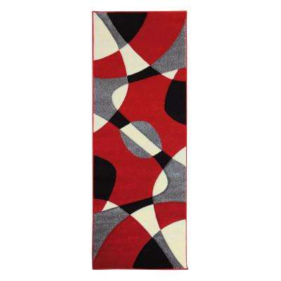 Hollywood Design Abstract Wave Red 2 ft. 7.25 in. x 7 ft. 3.25 in. Runner