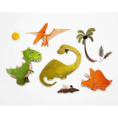 11.8 in. x 11.8 in. Dinosaurs 3D Wall Decal