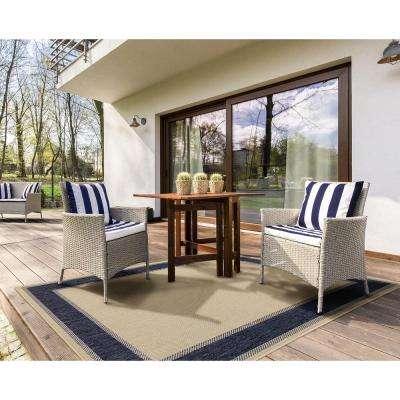 Border Tan Blue 7 ft. x 11 ft. Indoor/Outdoor Area Rug