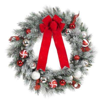 30 in. Flocked Pine Artificial Wreath with Red and White Balls