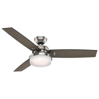 Sentinel 52 in. LED Indoor Brushed Nickel Ceiling Fan with Light Kit and Universal Remote