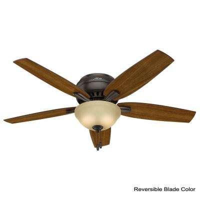 Newsome 52 in. Indoor Premier Bronze Bowl Light Kit Low-Profile Ceiling Fan