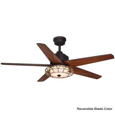 Pemberton 52 in. LED Oil Rubbed Bronze Ceiling Fan with Light Kit works with Google Assistant and Alexa