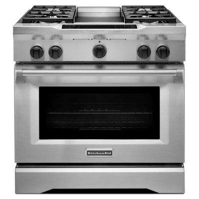 Commercial-Style 36 in. 5.1 cu. ft. Slide-In Dual Fuel Range with Self-Cleaning Convection Oven in Stainless Steel