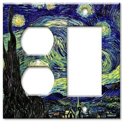 Starry Night 2 Gang Outlet/Rocker Combo Wall Plate