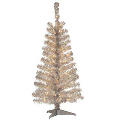 4 ft. Silver Tinsel Artificial Christmas Tree with Clear Lights