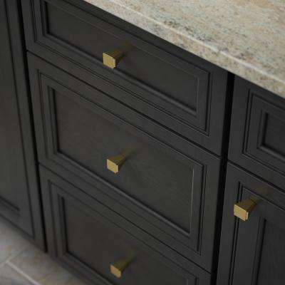 Modern Notched 1-1/8 in. (28 mm) Brushed Brass Cabinet Knob