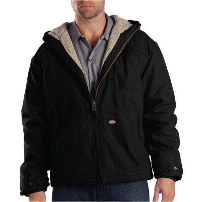 Men Duck Sherpa Lined Hooded Rinsed Black Jacket