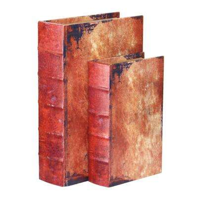 "12"" x 8"" x 3"" Wood Faux Leather Vintage Book Shaped Box, Set of 2 Sizes"