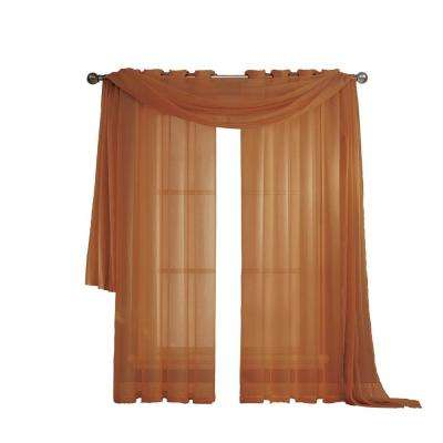 Diamond Sheer Voile 56 in. W x 216 in. L Curtain Scarf in Rust