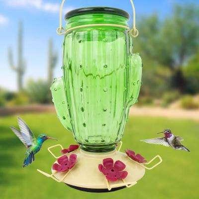 Cactus Top-Fill Decorative Glass Hummingbird Feeder - 32 oz. Capacity