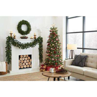 7 ft Elegant Grand Fir Slim LED Pre-Lit Artificial Christmas Tree with Timer with 700 Warm White Lights