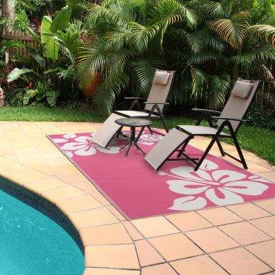 Hibiscus Pink/White 6 ft. x 9 ft. Indoor/Outdoor Area Rug