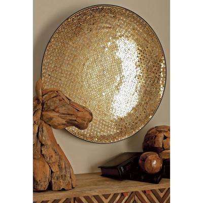 36 in. x 36 in. Traditional Iron and Glass Decorative Gold Mosaic Wall Platter