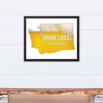 "20 in. x 16 in. ""Washington Drink Local Beer  "" Printed Framed Canvas Wall Art"