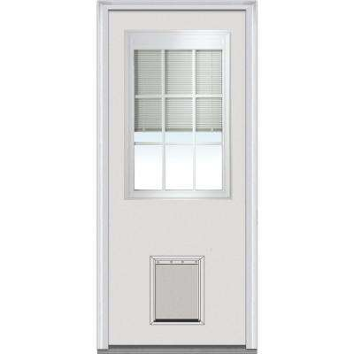32 in. x 80 in. Internal Blinds GBG Left-Hand 1/2 Lite Classic Primed Fiberglass Smooth Prehung Front Door w/ Pet Door