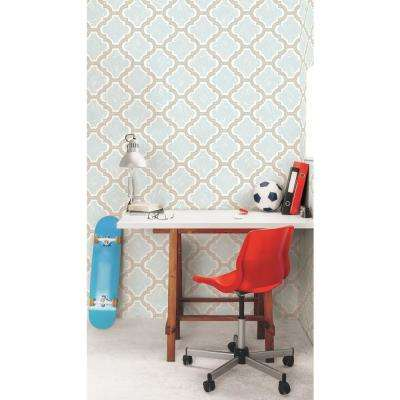 Kids Racetrack Gray and Powder Blue Ogee Wallpaper