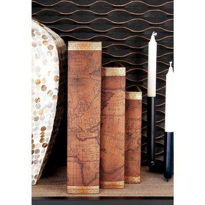 Vintage Wood and Faux Leather Nautical Map Book Boxes (Set of 3)