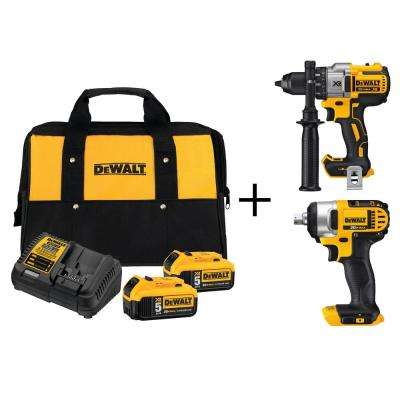 20-Volt MAX Lithium-Ion 5.0Ah Starter Kit with Bonus Bare XR Cordless Drill and 1/2 in. Impact Wrench