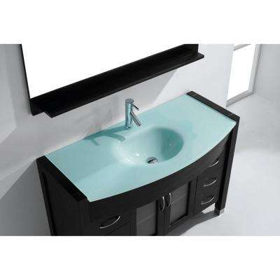 Ava 47 in. W Bath Vanity in Espresso with Glass Vanity Top in Aqua Tempered Glass with Round Basin and Mirror and Faucet