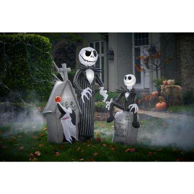 3.5 ft. Pre-Lit Inflatable Jack Skellington on Tombstone with Logo Airblown Disney