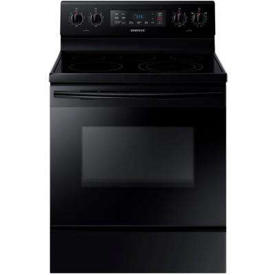 30 in. 5.9 cu. ft. Electric Range with Steam-Cleaning Oven in Black