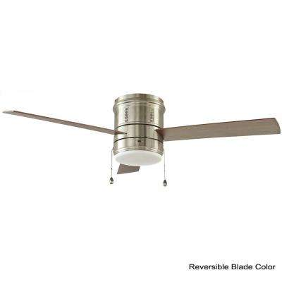 Gamali 52 in. LED Indoor Brushed Nickel Ceiling Fan  with Light Kit