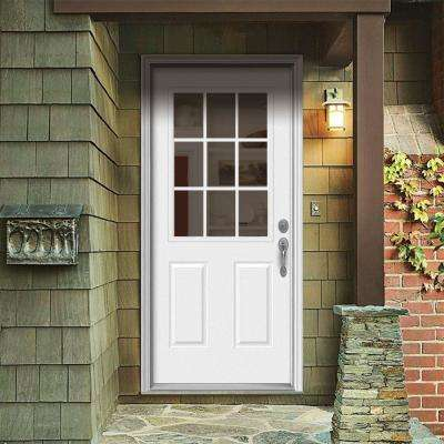 36 in. x 80 in. 9 Lite Primed Steel Prehung Left-Hand Inswing Back Door w/Brickmould