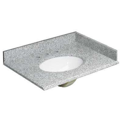 31 in. W Granite Vanity Top in Rushmore Grey and Basin in White with Backsplash and Optional Sidesplash