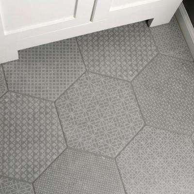 Hexagon Gray Tile Flooring The