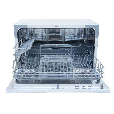 Countertop Dishwasher in Silver with Delay Start and 6 Place Settings Capacity