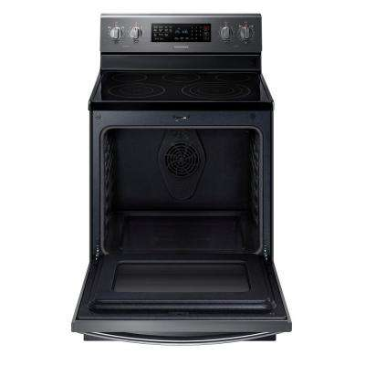 30 in. 5.9 cu. ft. Electric Range with Self-Cleaning Convection Oven in Fingerprint Resistant Black Stainless