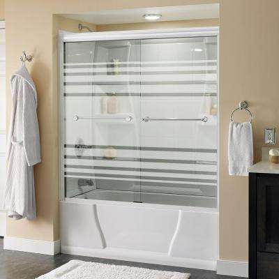 Crestfield 59-3/8 in. x 58-1/8 in. Semi-Frameless Sliding Tub Door in White with Chrome Handle and Transition Glass