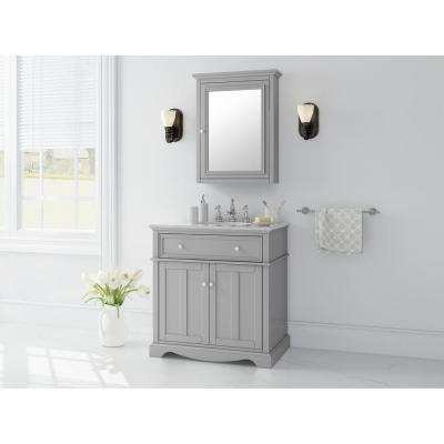 Fremont 32 in. W x 22 in. D Vanity in Grey with Granite Vanity Top in Grey with White Sink