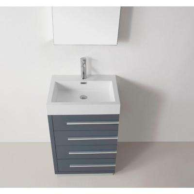 Bailey 24 in. W Bath Vanity in Gray with Vanity Top in White with Square Basin and Mirror and Faucet