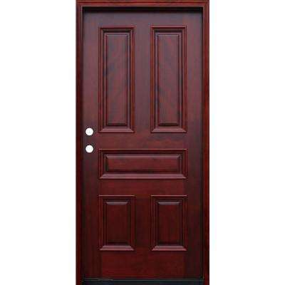 36 in. x 80 in. Traditional 5-Panel Stained Mahogany Wood Prehung Front Door with 6 in. Wall Series