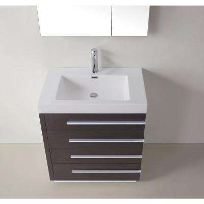 Bailey 30 in. W Bath Vanity in Wenge with Polymarble Vanity Top in White with Square Basin and Mirror and Faucet